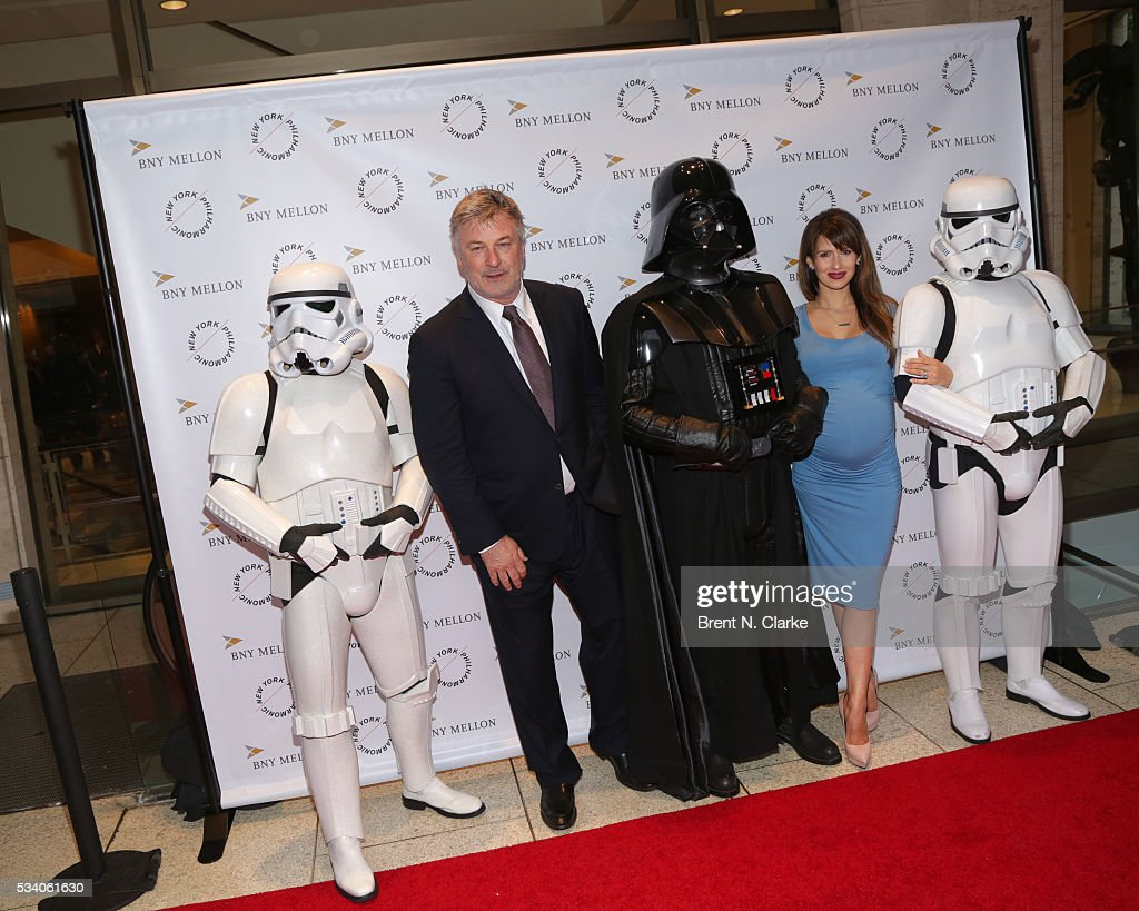 Board members Alec Baldwin (2nd L) and Hilaria Baldwin (2nd R) attend the New York Philharmonic Spring Gala - A John Williams Celebration held at David Geffen Hall on May 24, 2016 in New York City.