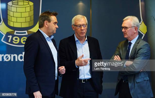 Board members Christian Barrett Jim Stjerne Hansen and Thorleif Krarup prior to the Brondby IF annual general meeting at Brondby Stadion on March 30...
