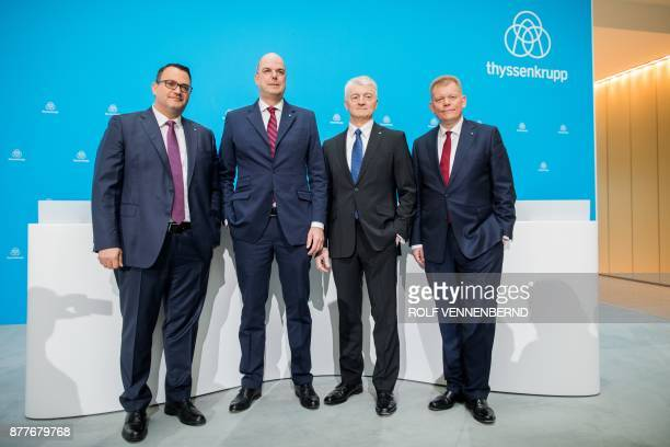 Board members of German industrial group ThyssenKrupp Oliver Burkhard Donatus Kaufmann chairman of ThyssenKrupp Heinrich Hiesinger and CFO of...