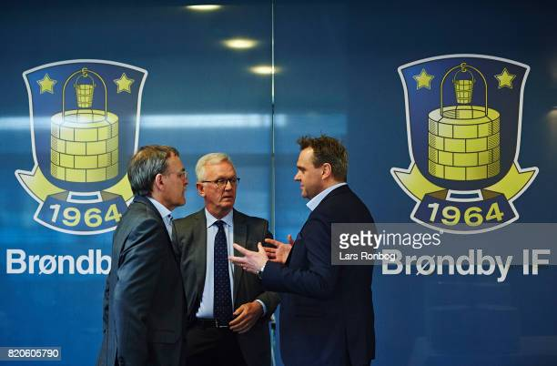 Board members Steen Lerche Thorleif Krarup and Christian Barrett prior to the Brondby IF annual general meeting at Brondby Stadion on March 30 2017...