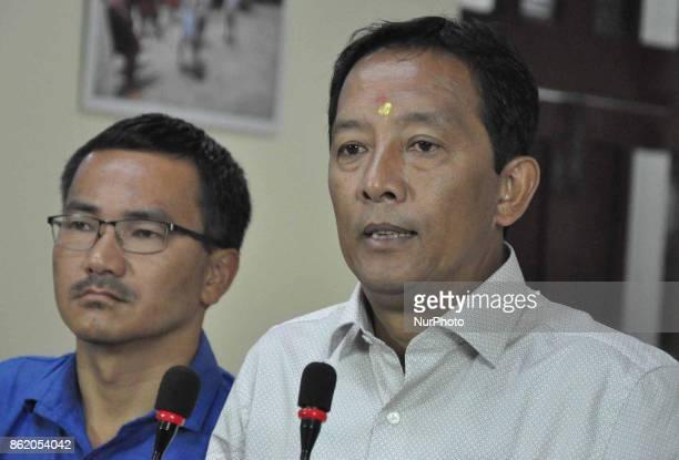 Board of Administrator for Darjeeling Chairman and Gorkha Jana Mukti Morcha leader Binoy Tamang press biffing at Nabanna on October 162017 in...