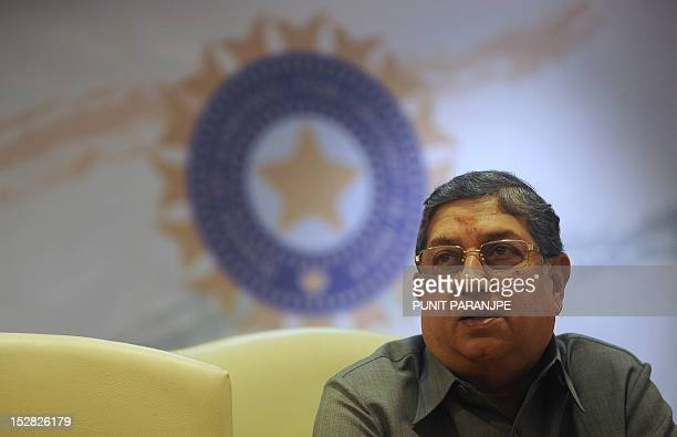 Board of Control for Cricket in India President N Srinivasan speaks during a news conference at their head office in Mumbai on September 27 2012...