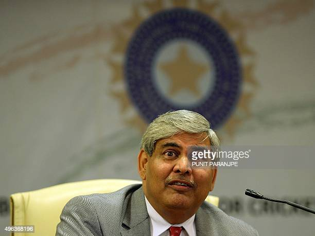 Board of Control for Cricket in India President Shashank Manohar speaks during a news conference at the board's headquarters in Mumbai on November 9...