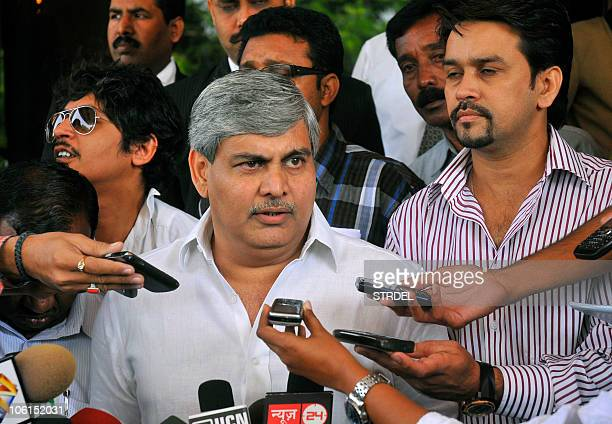 Board of Control for Cricket in India president Shashank Manohar addresses media representatives after a meeting of The BCCI Twenty20 Indian Premier...