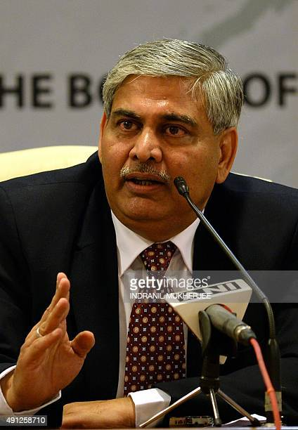 Board of Control for Cricket in India president Shashank Manohar answers questions after taking charge at the Indian cricket board's headquarters at...