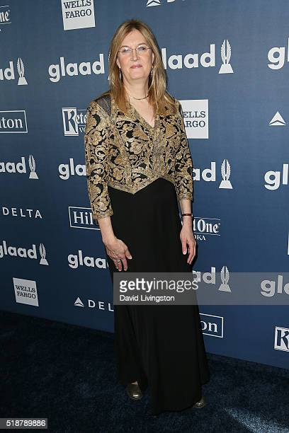 Board of Directors member Jenny Boylan arrives at the 27th Annual GLAAD Media Awards at The Beverly Hilton Hotel on April 2 2016 in Beverly Hills...