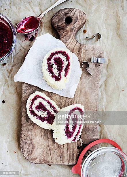 Board of raspberry dessert rolls