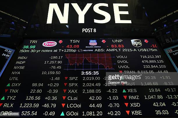A board on the floor of the New York Stock Exchange shows declines on November 13 2015 in New York City As US stocks fell Friday the Dow Jones...