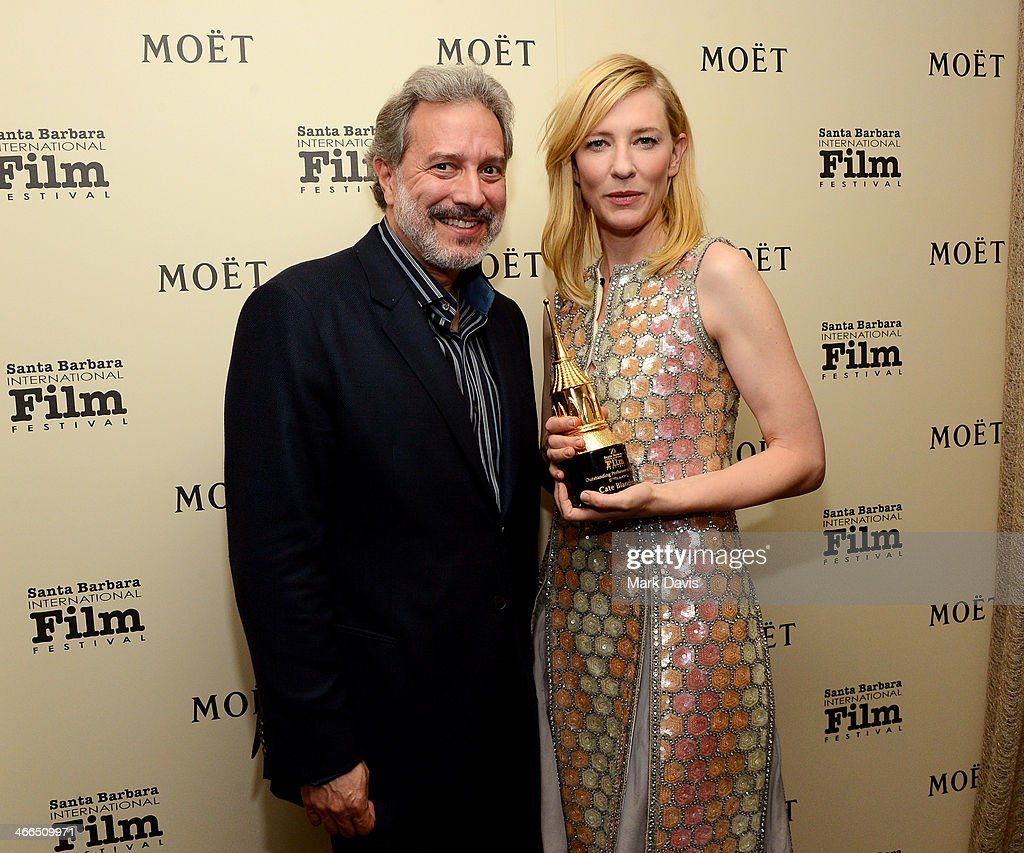 SBIFF board president Doug Stone and actress <a gi-track='captionPersonalityLinkClicked' href=/galleries/search?phrase=Cate+Blanchett&family=editorial&specificpeople=201621 ng-click='$event.stopPropagation()'>Cate Blanchett</a> attend the 29th Santa Barbara International Film Festival outstanding performer of the year award on February 1, 2014 in Santa Barbara, California.