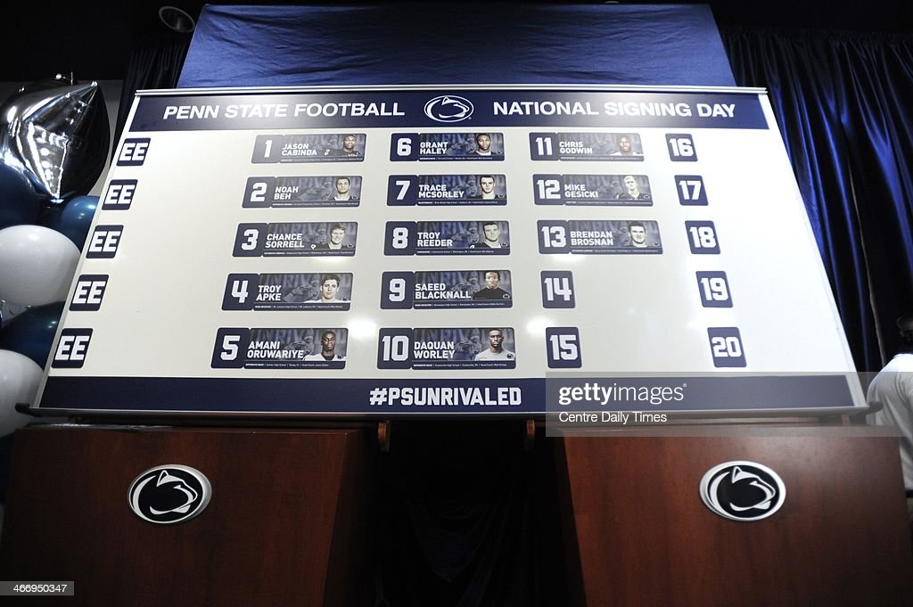 A board shows all the recruits that signed with the Penn State football team as coach James Franklin and the Penn State University football program held a national signing day event in the Lasch building, in University Park, Pa., Wednesday, February 5, 2014.