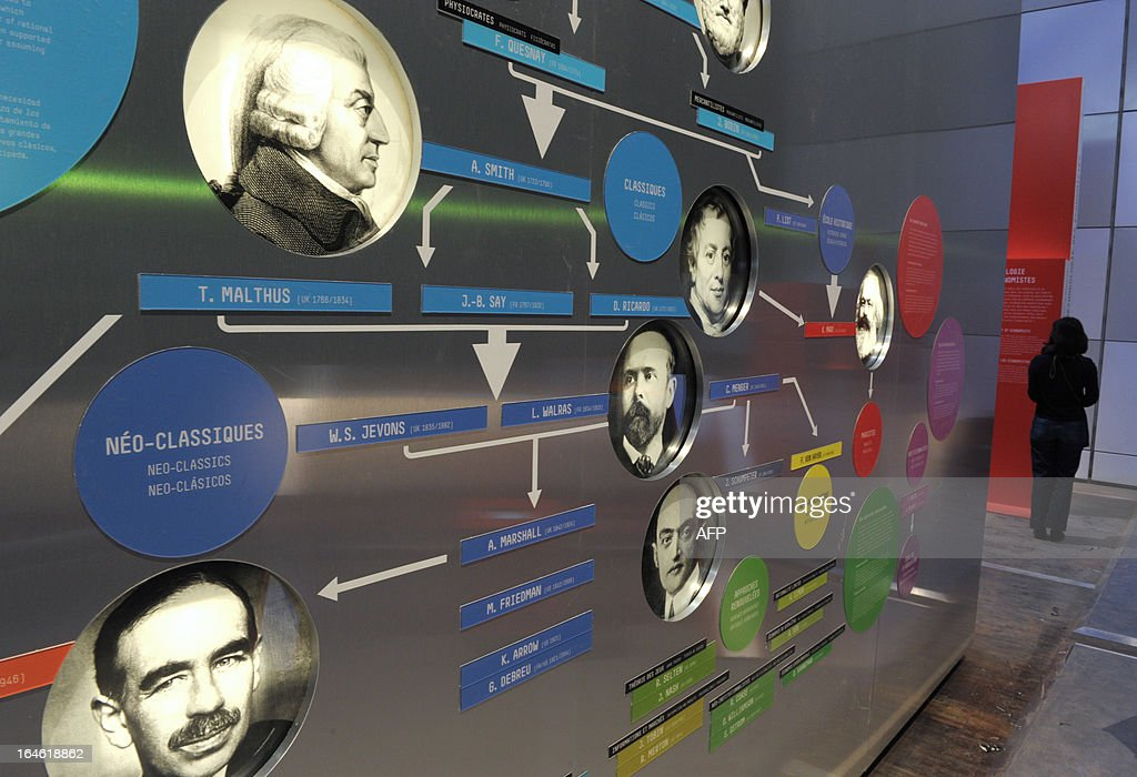 A board shows portraits of economists displayed on a wall on March 25, 2013 on the eve of the opening of the exhibition 'L'Economie: krach, boom, mue ?' at the Cite des Sciences in Paris. AFP PHOTO ERIC PIERMONT