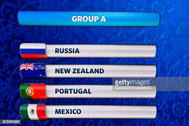 A board shows the group A following the draw for the 2017 FIFA Confederations Cup at the tennis academy center in Kazan on November 26 2016 / AFP /...