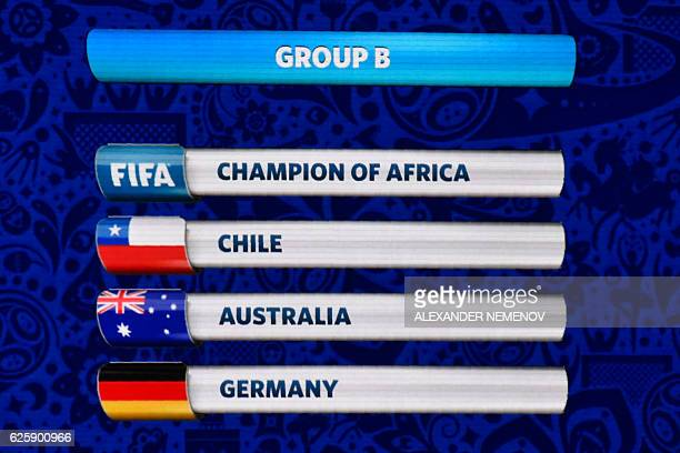 A board shows the group B following the draw for the 2017 FIFA Confederations Cup at the tennis academy center in Kazan on November 26 2016 / AFP /...