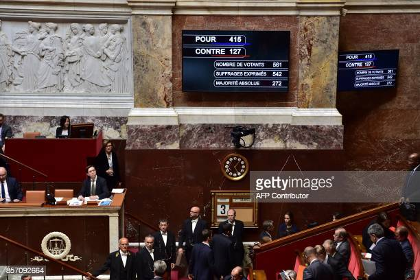 A board shows the results of the vote after French lawmakers voted a new counterterrorism law designed to end the country's twoyear state of...