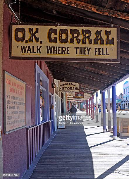 Board sidewalks line the main street in historic Tombstone Arizona known as 'The Town Too Tough to Die' The town featuring staged gunfights and...