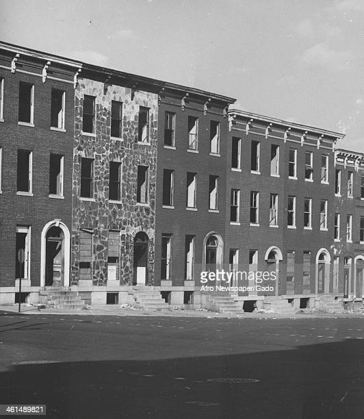 Boarded up abandoned row houses Baltimore Maryland 1965