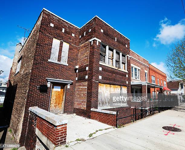 板を打ち付けたエドワードタウンハウス、シカゴ
