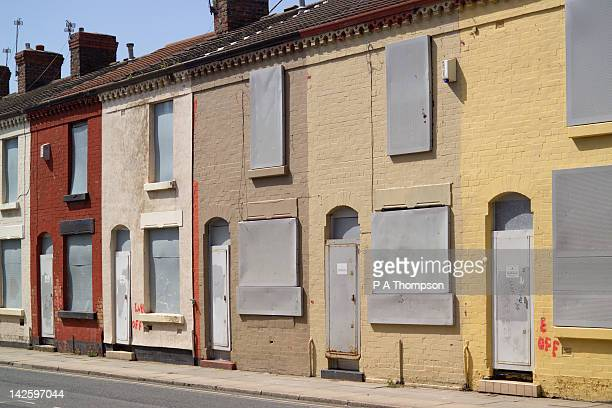Boarded up houses, Tinsley Street, Anfield, Liverpool, Merseyside, England