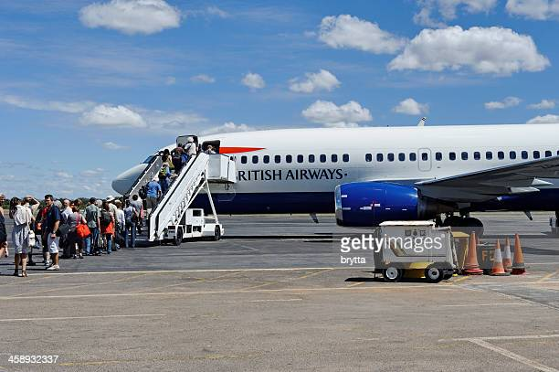 Boarding  the plane at Victoria Falls Town Airport,Zimbabwe