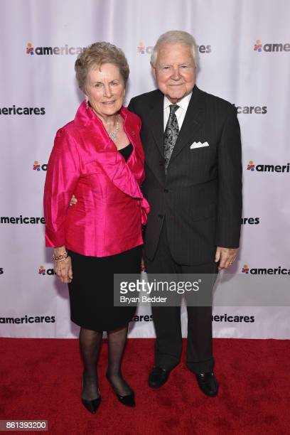 Boardmember Carol Bauer and George Bauer attend the 2017 Americares Airlift Benefit at Westchester County Airport on October 14 2017 in Armonk New...