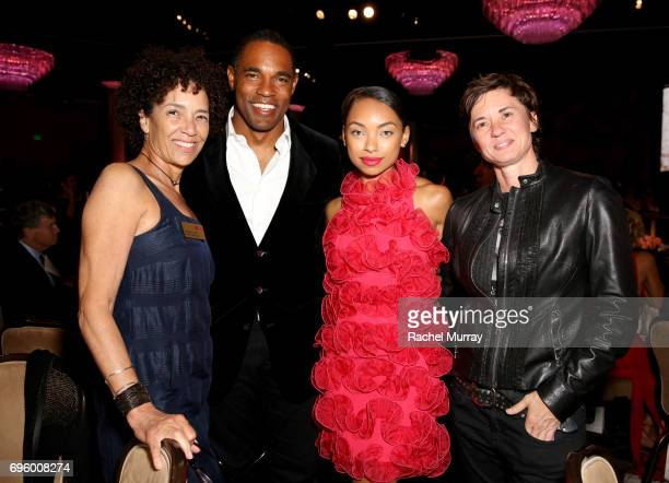 WIF boardmember Stephanie Allain actors Jason George Logan Browning and director Kimberly Peirce attend the Women In Film 2017 Crystal Lucy Awards...