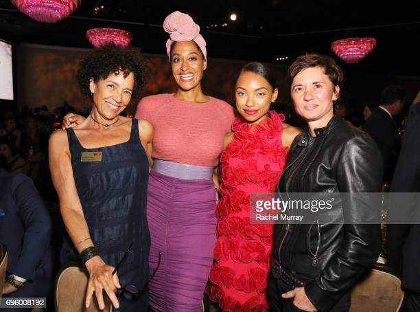 WIF Boardmember Stephanie Allain actors Tracee Ellis Ross wearing Max Mara Logan Browning and director Kimberly Peirce attend the Women In Film 2017...
