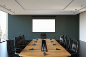 Empty boardroom with white screen