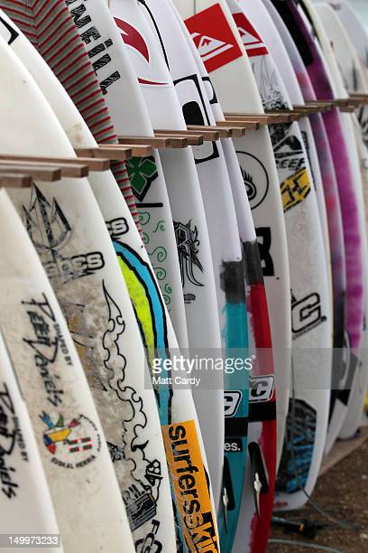 Boards belonging to surfers competing in the Relentless Boardmasters prosurfing competition are seen on Fistral Beach on August 8 2012 in Newquay...