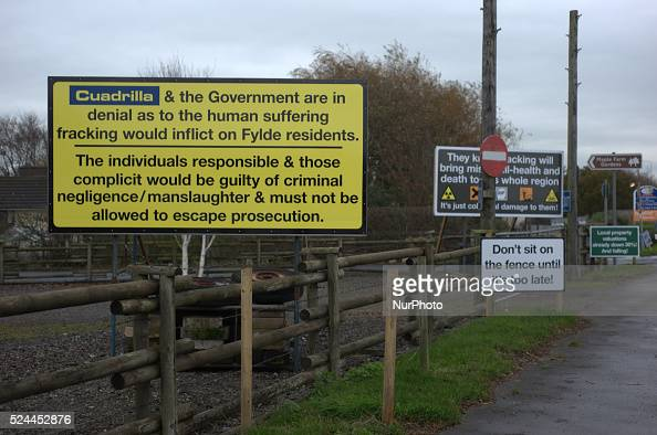 Boards demonstrating the dangers of and opposition to fracking WestbywithPlumbton Lancashire England