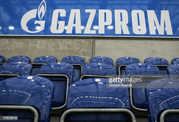 Boards of Russian Gas Supplier Gazprom of the new main sponsor of Schalke 04 are seen on the Gazprom tribune on January 4 2007 in the Veltins Arena...