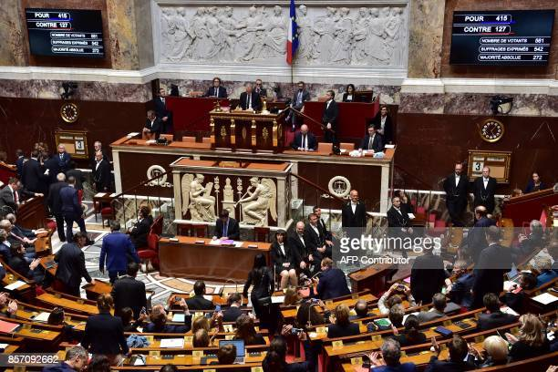 Boards show the results of the vote after French lawmakers voted a new counterterrorism law designed to end the country's twoyear state of emergency...