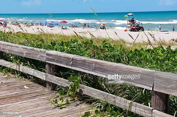 Beach boardwalk and lifeguard stand in Indialantic Florida