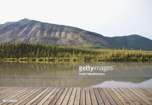 boardwalk near remote river : Stock Photo