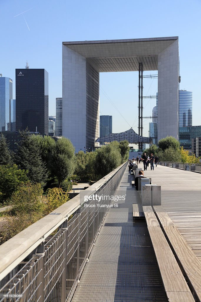 Boardwalk of the La Grande Arche : Stock Photo