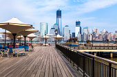 Boardwalk on Hudson River with Manhattan in background