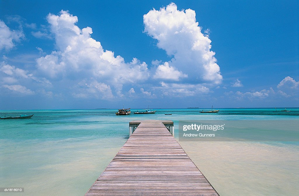 Boardwalk, Thulusdhoo, Maldives, Indian Ocean : Stock Photo