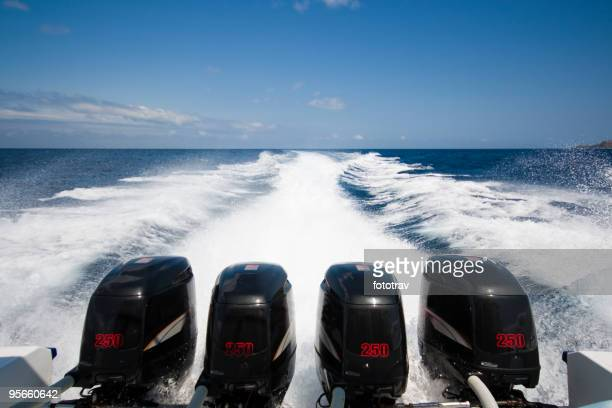 Boat 1000 hp Speedboat going from Bali to Lombok, Indonesia