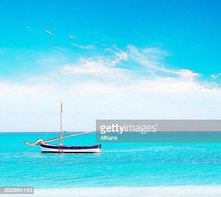 boat and clouds in water color : Bildbanksbilder