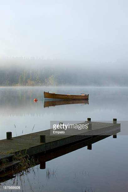 Boat and Jetty, Loch Ard, The Trossachs, Scotland.