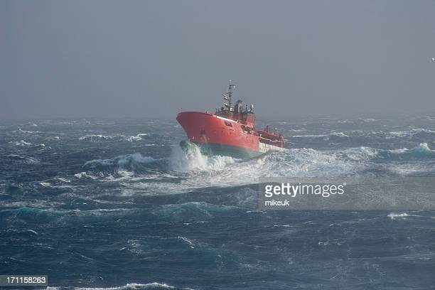 boat at sea in storms