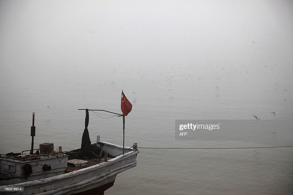 A boat berths in the heavy smog in Qingdao, east China's Shandong province on January 29, 2013. Residents across northern China battled through choking pollution on January 29, as air quality levels rose above index limits in Beijing amid warnings that the smog may not clear until January 31. CHINA