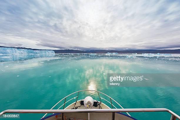 Boat Bow View Eqi Glacier Sermia Greenland