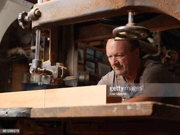 Boat builder in workshop