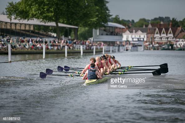 A boat crew competes in a race at the Henley Royal Regatta on July 2 2014 in HenleyonThames England Opening today and celebrating its 175th year the...