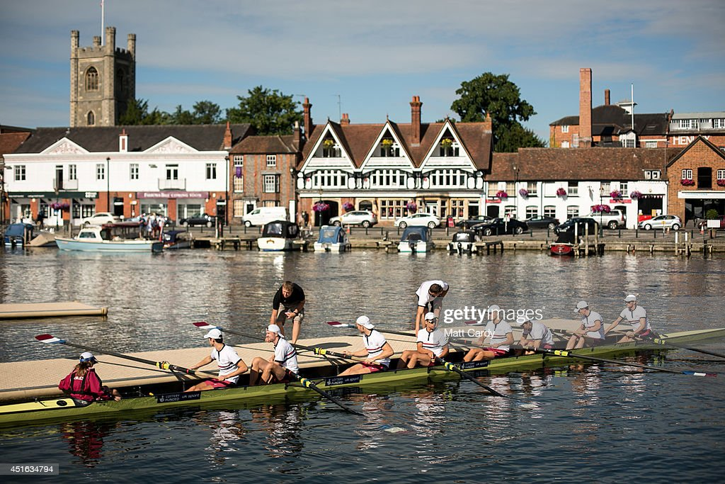 A boat crew prepares to competes in a race at the Henley Royal Regatta on July 3 2014 in HenleyonThames England Opening today and celebrating its...