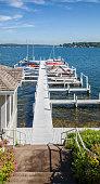 Boat dock on the beautiful waters of Lake Geneva, Wisconsin