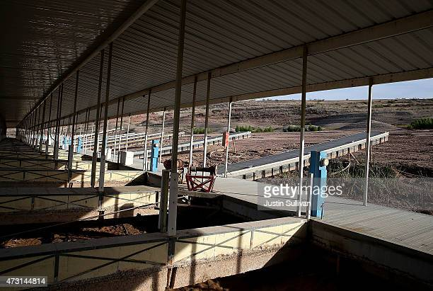 A boat dock sits on what used to be the bottom of Lake Mead at the abandoned Echo Bay Marina on May 12 2015 in Lake Mead National Recreation Area...