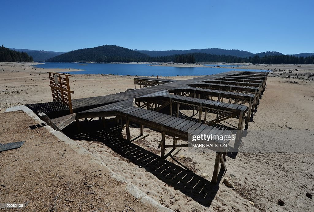 Boat docks on the dried up lake bed of Huntington Lake which is at only 30 percent capacity as a severe drought continues to affect California on...
