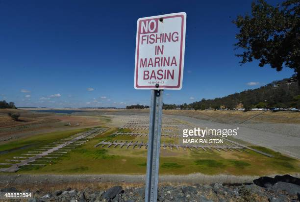 Boat docks sit empty on dry land as Folsom Lake reservoir near Sacramento stands at only 18 percent capacity as the severe drought continues in...