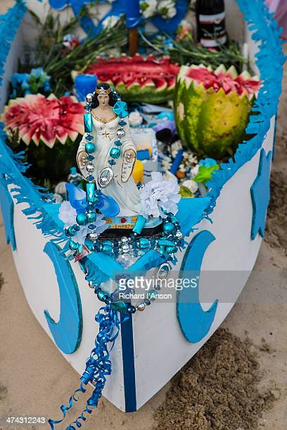 Boat filled with offerings to Yemanja, sea goddess
